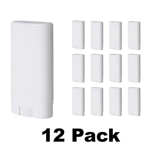 Empty Deodorant Containers (15 mL, Pack of 12) - BPA Free Solid White Plastic, Mini Size Great for Carry-On Travel, DIY Make Your Own Deodorant, Lip Balm, Lotion Bar, Moisturizer, Heel Balm, Sunscreen