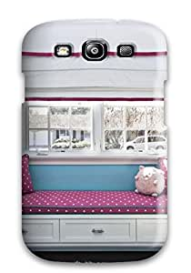 New Style Case Cover For Galaxy S3 - Retailer Packaging Girls Room Window Seat With Pink Polka Dot Cushion And Bright Blue Accent Wall Protective Case 5024130K77835431