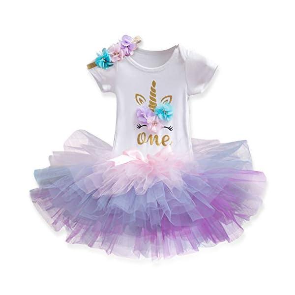 TTYAOVO Neonata 1 ° Compleanno 3pcs Insiemi con Unicorn Fascia e Pagliaccetto & Gonne 1