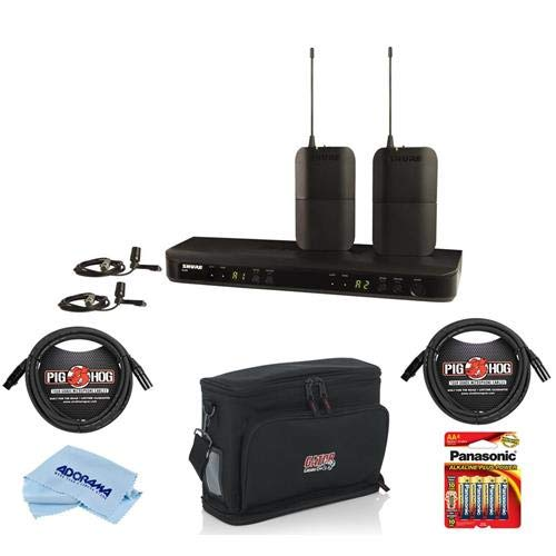 Shure BLX188/CVL Dual Channel Lavalier Wireless System, Includes 2x BLX1 Bodypack Transmitters, BLX88 Dual-channel Receiver, 2x CVL Lavalier Mics, H10: 542.125-571.800MHz - With Accessory Bundle by Shure