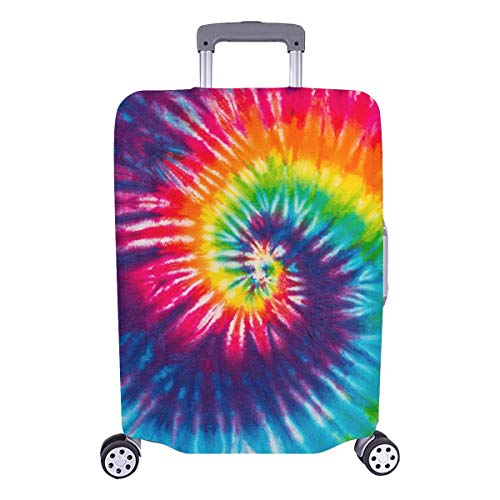 (InterestPrint Custom Abstract Swirl Tie Dye Holiday Travel Business Luggage Cover Protector Suitcase Elastic 25
