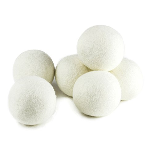 (Upgraded) SnugPad XL Size Wool Dryer Balls Natural Fabric Softener & 100% Organic Premium New Zealand Wool, Reduce Wrinkles & Save Time, Baby Safe & Hypoallergenic, White 6Count
