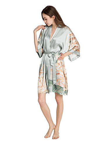 KIM + ONO Women's Silk Kimono Robe Short - Floral Print, Kiku- Misty Jade