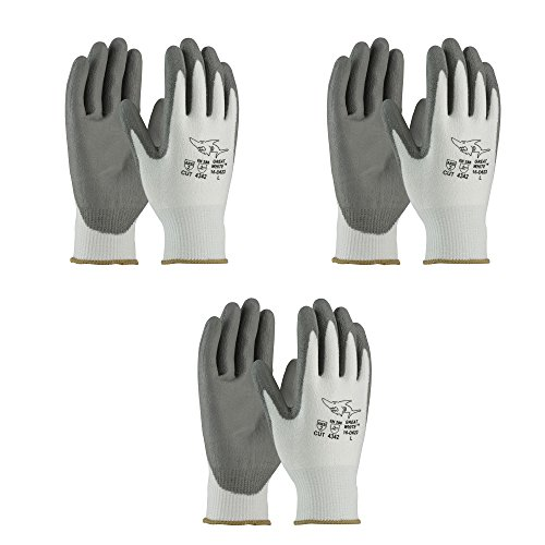 PIP 16-D622 G-Tek PolyKor Seamless Knit PolyKor Blended Gloves - Polyurethane Coated Smooth Grip on Palm & Fingers (3 Pair Pack) (X-Small)