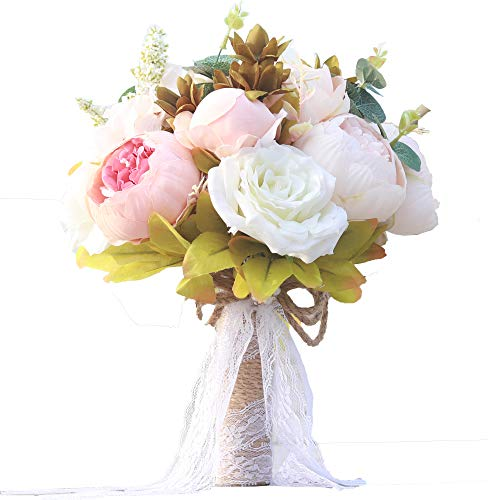 Furnily Wedding Bouquet for Bride Realistic Silk Artificial Flowers Handmade Vintage Bouquet for Beach Wedding Ceremony