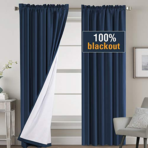 100% Blackout Curtains 84 Inch Long, Thermal Insulated Curtains for Bedroom White Liner, Rod Pocket Full Shading Panels for Shift Worker and Light Sleepers, Navy, 2 Pcs, Tiebacks Included