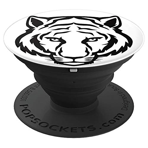(Black & White Tiger's Face Tattoo - PopSockets Grip and Stand for Phones and Tablets)