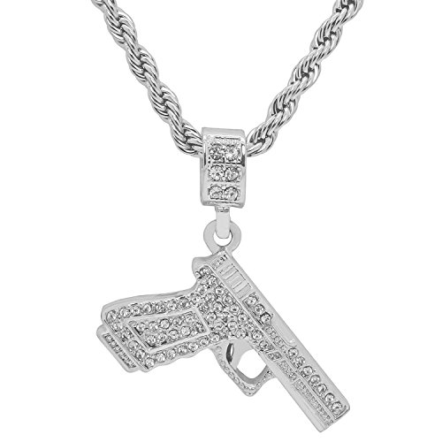 White Gold-Tone Iced Out Hip Hop Bling Handgun Pistol Glock Pendant With 24