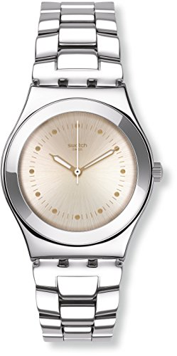 Swatch Puntagialla Beige Dial Stainless Steel Ladies Watch YLS197G