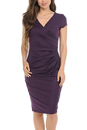 Auliné Collection Womens V-Neck Zip Up Work Office Career Side Wrap Sheath Dress Purple ()