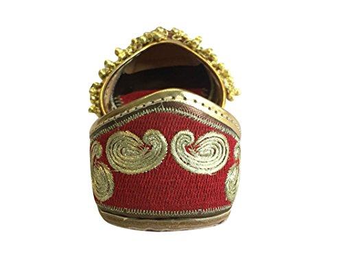 Red Style Rojo Mujer Khussa Rajasthani Ghungroo Step Étnico Plano Sandalias Jutti Punjabi Zapatos Mojari N 6wxctRtFq5