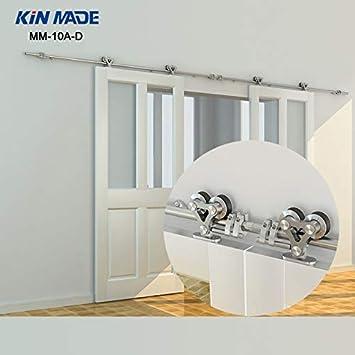 KIN Made - Kit de puerta corredera de madera para puerta corredera de granero (acero inoxidable): Amazon.es: Bricolaje y herramientas