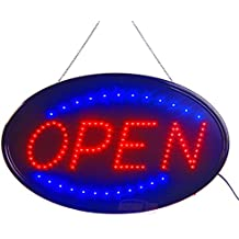 """Large LED Open Sign for Business Displays: Oval Electric Light Up Sign Open with 2 Flashing Modes   Lighted Signs for Hair Salons, Hotels   No use of toxic Neon (23"""" x 14"""", Model 3)"""