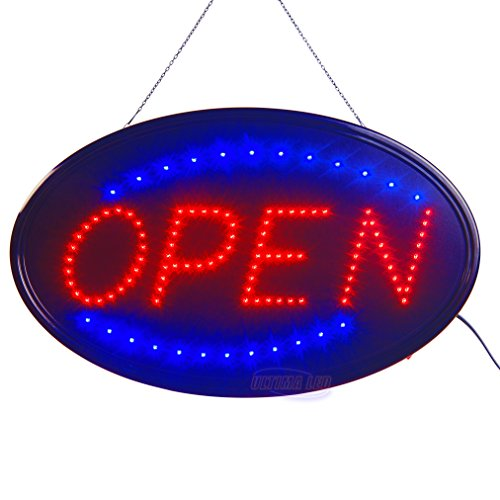Large LED Open Sign for Business Displays: Oval Electric Light Up Sign Open with 2 Flashing Modes | Lighted Signs for Hair Salons, Hotels | No use of toxic Neon (23