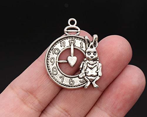 - pakuda 4 Rabbit Clock Charms Antique Silver Tone 30x15mm - YD1304