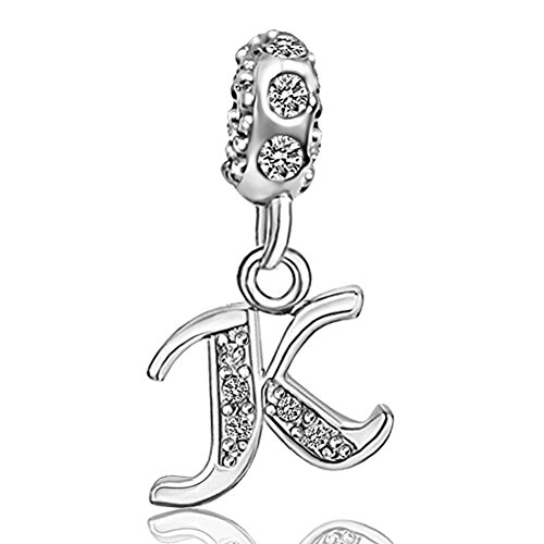 JMQJewelry K Birthstone Alphabet Beads Letter Initial Spacer Dangle Clear Crystal Charms Bracelets (Crystal Pandora Charms)