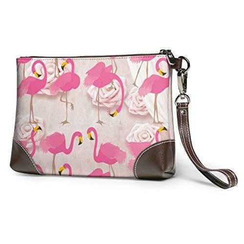 Rose Flamingo Women's Leather Wristlet Clutch Zipper Wallet Case Cellphone Purse Handbag