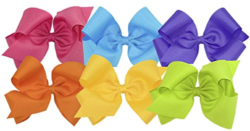 Wee Ones Girls' King Bow 6 pc Set Solid Grosgrain Variety Pack on a WeeStay Clip - Shocking Pink, Island Blue, Delphinium, Orange, Yellow, Apple -