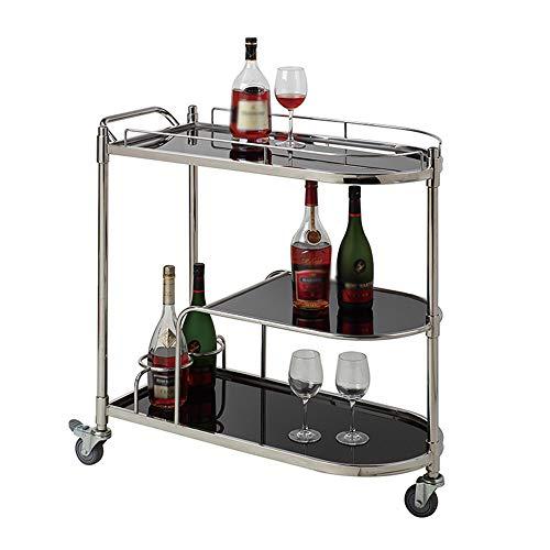 - Trolley Chunlan Three-Tier Kitchen Cart, Stainless Steel Wine Cart, Wheeled, Silent Shock Absorber, 81 X 41 X 88 cm