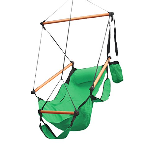 Flexzion Hanging Rope Hammock Chair (Green) Air Deluxe Sky Swing Outdoor Seat Solid Wood 250lb with Pillow Arm Arrest Footrest and Drink Holder for Patio Furniture Camping Travel Porch Lounge
