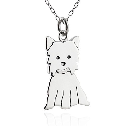 Sterling Silver Yorkshire Terrier Dog Pendant Necklace, 18
