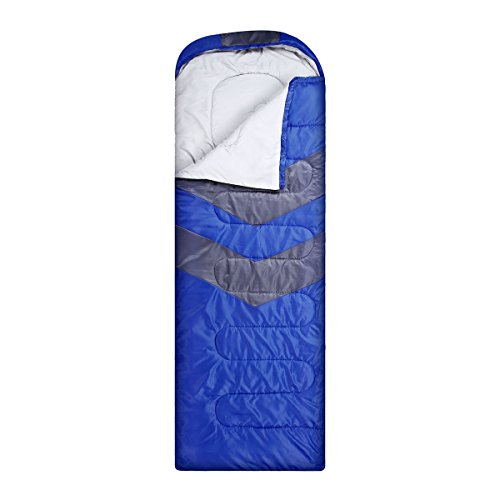isYoung Sleeping Bag - Envelope Lightweight Portable, Waterproof, Comfort with Compression Sack - Great for 4 Season Traveling, Camping, Hiking, Outdoor Activities (Blue Sleeping Bag)