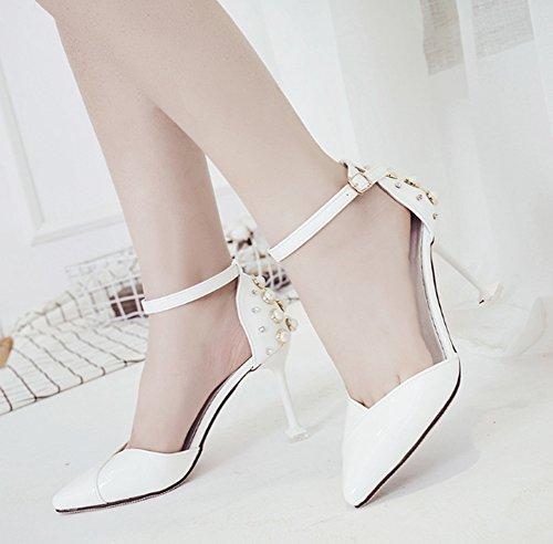 Tacco alto scarpe Primavera coreana alto donna versione 36 tacco sandali Bianca LBDX moda Colore Bianca da moda femminile e dimensioni estate wOWqFIP