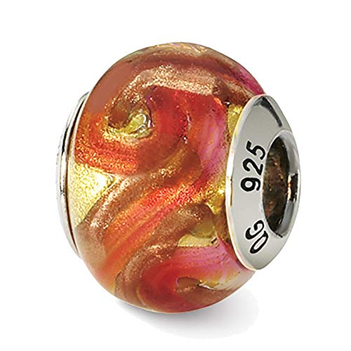 Lex & Lu Sterling Silver Reflections Yellow/Red/Orange Italian Murano Bead