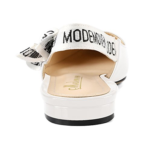 slip back Modemoven Loafers For Women's Pumps Patent sexy Ballet Leather On Women Mules flat Shoes Sling White IqO4PFwnq