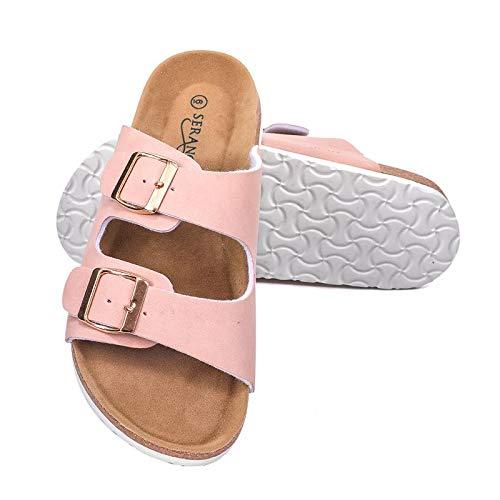 Seranoma Women's Comfort Double Buckle Indoor/Outdoor Cork Sandal | Classic Comfortable Slide | Adjustable Buckles Pink