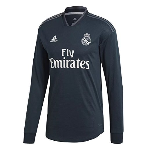 adidas 2018/19 Mens Real Madrid Away Authentic Long Sleeve Jersey Large Tech Onix/Bold Onix/White