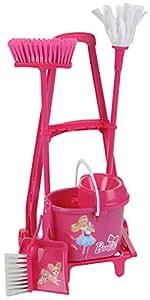 Theo Klein 6352 Barbie - Cubo, escoba y fregona, color rosa