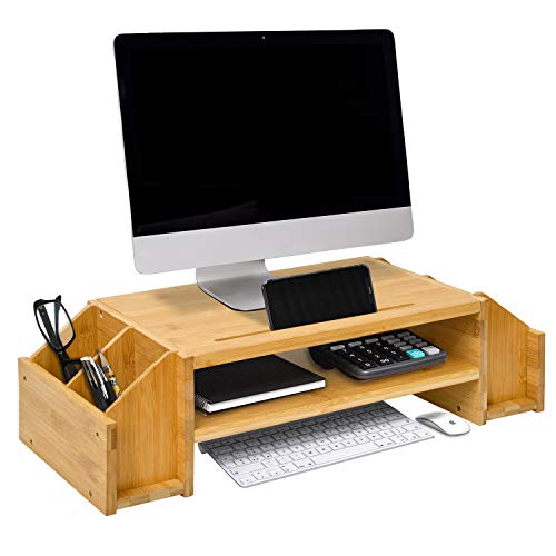 WAYTRIM 2-Tier Bamboo Monitor Stand, Wood Computer Monitor Riser, Wooden Desk Organizers with Adjustable Storage Accessories Shelf for iMac, Laptop, Printer, Xbox one