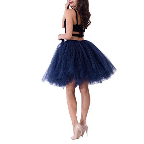 15caf99641b Handmade Full Puffy Ballerina Tutu Tulle Midi Knee-length Skirt Celeb  Street Style 50cm (Navy)