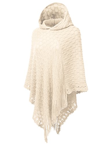 V-neck Knitting Pattern (H2H Womens Classic Hooded Cape With Fringed Hem, Crochet Poncho Knitting Patterns For Women Ivory US M/Asia M (AWOSWSL015))