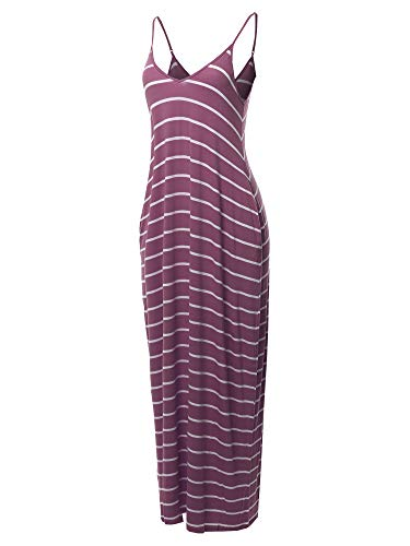 (Made by Emma Casual Adjustable Strap Side Pockets Stripe Loose Maxi Dress Eggplant L)
