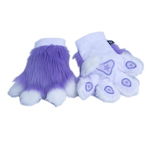 Pawstar Paw Mitts Furry Animal Hand Paws Costume Gloves Adults - Lavender
