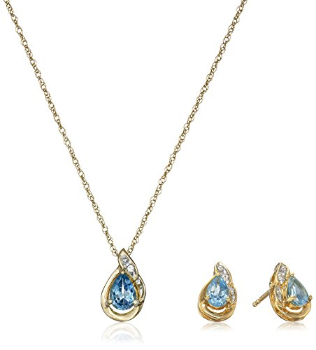 Yellow Gold Plated Sterling Silver Pear Shape Gemstone and Created White Sapphire Earrings and Pendant Necklace Jewelry Set