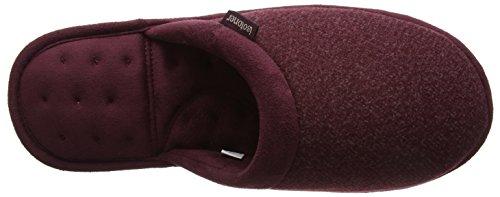 Isotoner Herren Wool Fabric Mule Slippers Pantoffeln Rot (Burgundy)