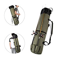 Opening: Draw cord opening, easy and convenient. Pockets: One buckle outside pocket; case holds 5 rods on the outside bottom; enough room for equipment on the inside as well.Features: 1. Store and carry up to 5 rods and reels in the pockets o...