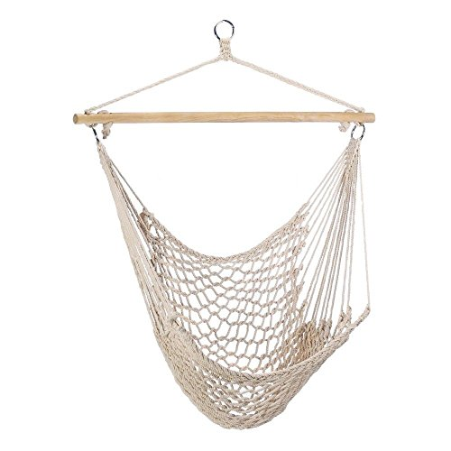 Clevr New Hammock Chair Swing Chair Outdoor Porch Lounge Hanging Patio Tree Sky (White-Cotton)