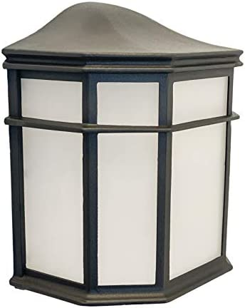 CORAMDEO Outdoor Flush Mount Pocket Lantern, for Entry, Porch, Deck, Wet Location, Built in LED Gives 125W of Light, 1250 lumens from 12.5W of Power, Black Cast Aluminum with Frosted Acrylic Lens