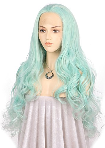 TANYAWIGS Blue Synthetic Lace Front Wig Big Loose Wave Mermaid Green Gorgerous Thick Glueless Wig For Women Hair Replacement Fashion Looking - Most Styles Popular Facial Hair