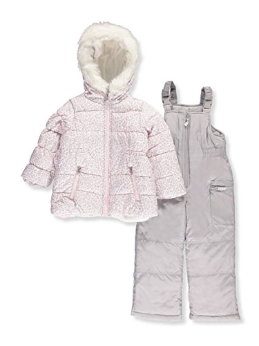 Carter's Little Girls' 2-Piece Heavyweight Printed Snowsuit, Cozy Pink Leopard/Dove Grey, (Coat Pink Leopard)