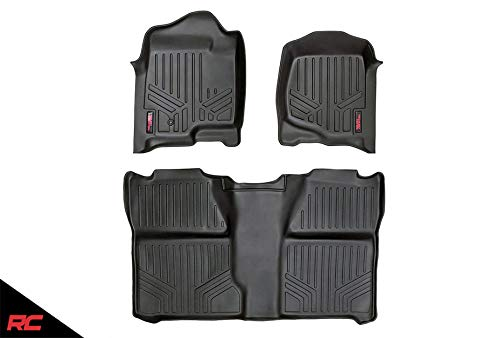 Rough Country Floor Liners Compatible w/ 2007-2013 Chevy Silverado GMC Sierra Crew Cab Bucket 1st 2nd Row Mats M-20713