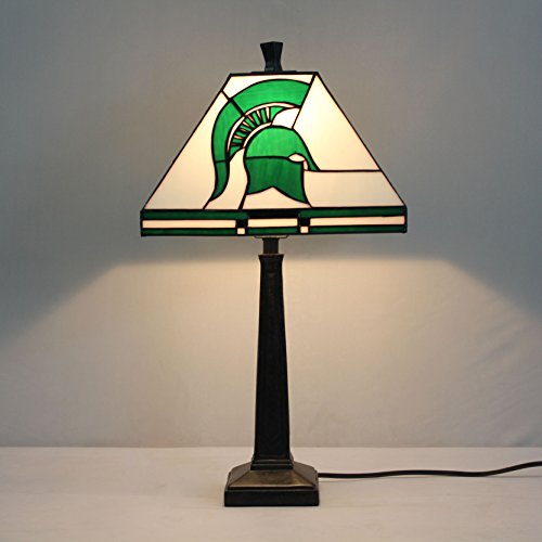 - HDO 12-inch NCAA Michigan State Spartans Stained Glass Square Table Lamp