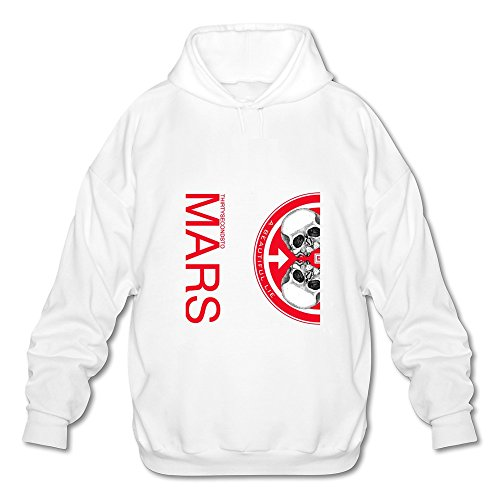 Price comparison product image HUBA Men's Hooded Sweatshirt 30 Seconds To Mars-A Beautiful Lie White Size XL