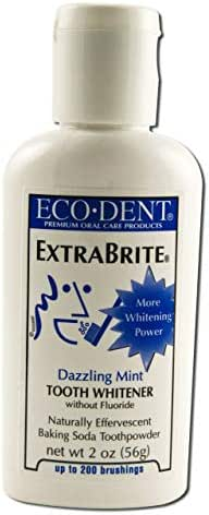 Eco-Dent Extra Brite Tooth Whitener, Without Fluoride, Dazzling Mint, 2 oz (56 g) 2-pack