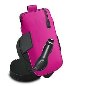 ONX3 Huawei Ascend G740 Leather Slip cuerda del tirón de la PU de protección en la bolsa con el caso de Quick Release, 360 que gira la horquilla del parabrisas del coche y 12v Micro USB cargador de coche (Hot Pink)