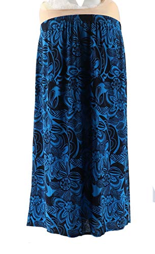 Susan Graver Printed Liquid Knit Maxi Skirt Navy Blue 2X New A303347